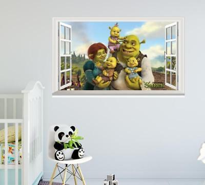 Shrek family Removable 3D Window Wall Sticker Art Decals Kids Decor (Shrek Wall Decals)