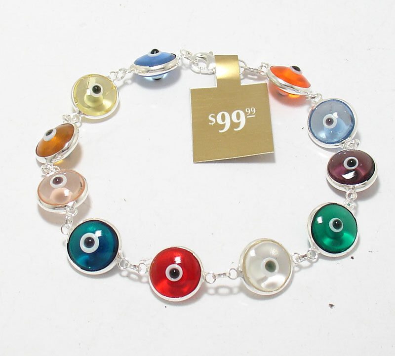 WHOLESALE 10 PCS Multi Color Evil Eye Good Luck Bracelet REAL Sterling Silver
