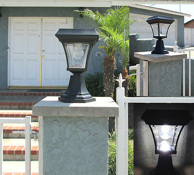 6-pk Solar Fence Gate Post Light With 4 LEDs For Wood Mason Stone Brick Concrete 6' Aluminum Light Post