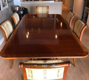 Antique Baker Mahogany Dining Table & 10 Chairs