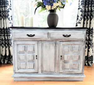COUNTRY STYLE WOOD BUFFET OR TV STAND, SHABBY CHIC