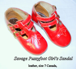 Pussyfoot (SAVAGE) toddler shoes, red, leather, 2 years