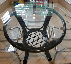 Black wicker table base with glass top