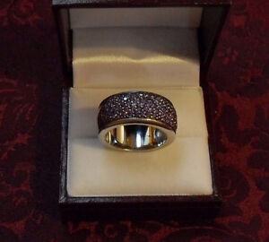 9.25 Silver - Amethyst Dinner Ring – Wide band Size 9