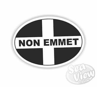 Non Emmet Oval Sticker Cornish Stickers St Piran Flag Kernow Cornwall Car Van