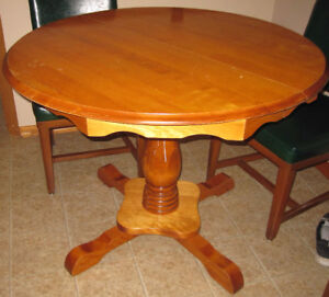 table, round, wooden