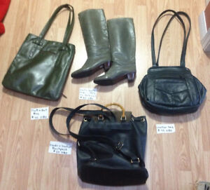 Leather purse & backpack, Matt & Nat bag, leather boots