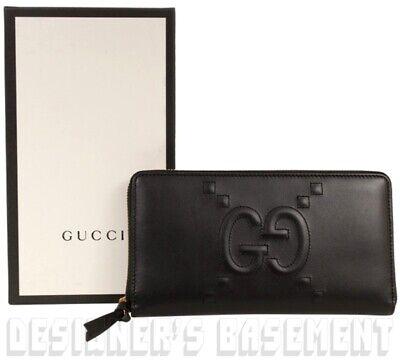 GUCCI black Original GG stitched APOLLO embossed Zip Around wallet NIB Auth $580