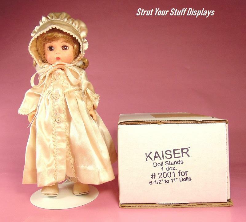 "1 doz KAISER #2001 WHITE STANDS Fit 6.5""-10"" tall dolls 8"" M ALEXANDER, 8"" GINNY"