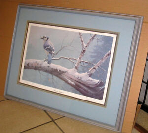 """Daniel Smith signed and numbered """"Winter Sentinel""""Blue Jay Print"""