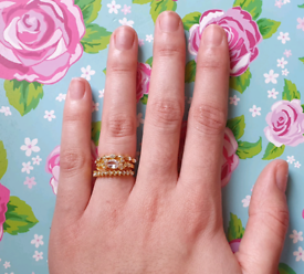 Beautiful Ring Set in 14K Gold Overlay.