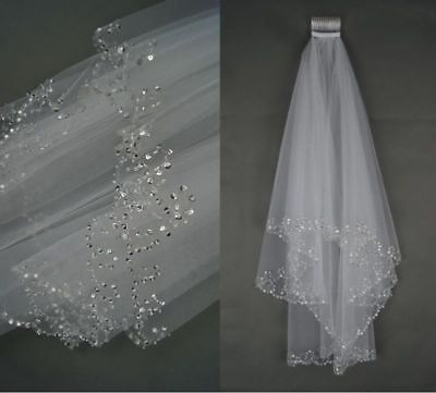 Cheap Wedding Veils (Beaded White/Ivory Wedding Veil Bridal 2 Layer Veils Beaded  Edge With)