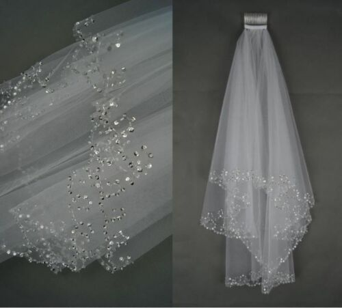 2019 Beaded White/Ivory Wedding Veil Bridal 2 Layer Veils Beaded  Edge With Comb