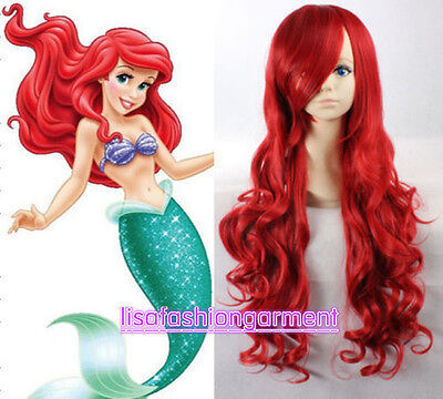 Disney Little Mermaid Princess Ariel Red Wig Long Curly for Kids