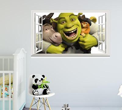 Shrek Puss in Boots Donkey animation cartoon Shrek window wall sticker art decal (Shrek Wall Decals)