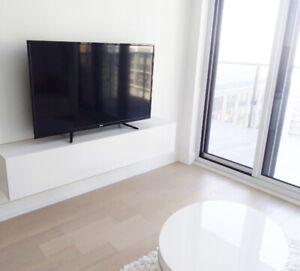 Brand New, Modern glossy white floating TV stand