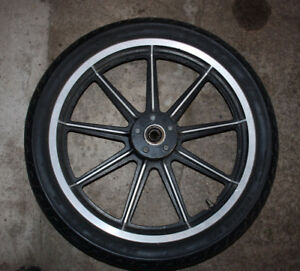 "Harley 19"" 9-spoke mag wheel with tire"