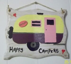 Rustic Wood Camping - Trailer Sign Plaques
