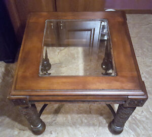 Carved Wood End Table With Glass Top