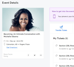 BECOMING: MICHELLE OBAMA PRIME BALCONY ROW 2 BELOW COST