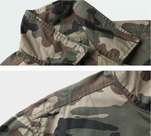 Mens camouflage Military Combat Casual Jacket Outdoor Pockets Shirts Tops Coats