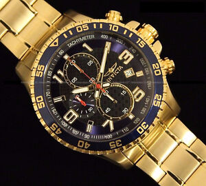 New Invicta Mens Chrono Blue Dial 18K Gold Plated SS Watch