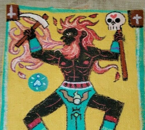 BRAZILLIA  SANGO MACUMBA  VOODOO OR VODOUN FLAG OCCULT ART & TOOL