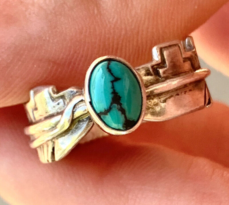 HARVEY MACE Navajo Sterling Silver Turquoise Ring SIGNED H. Mace Feather Cross