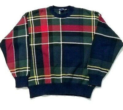 Vintage Nautica Sailing Color Block Striped Plaid Sweater Knitted Size L RARE