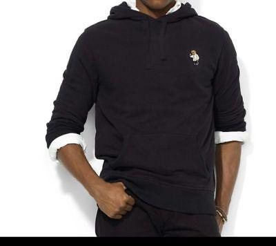 New Polo Ralph Lauren Men Bear Black Pullover Hoodie Tuxedo Martini XXL XXLARGE