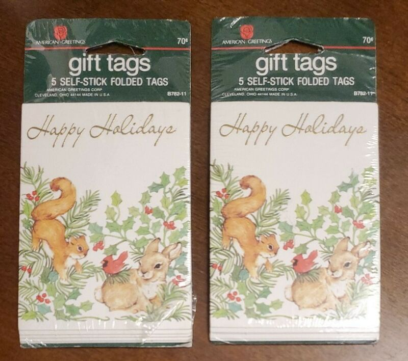 2 Linda K. Powell OR Bill Stroble American Greetings self-stick gift tag, NIP