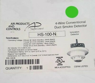 Hs-100-n 4-wire Conventional Duct Smoke Detector Ionization Detector Fire Alarm