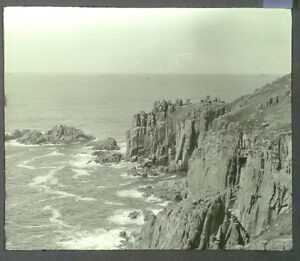 42-Lantern-Glass-Slide-Rocks-Cliffs-near-Lands-End-Cornwall-Photo-pre-1920s