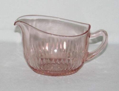 Hocking Glass OLD COLONY Lace Edge Pink Flat Oval Shaped Creamer