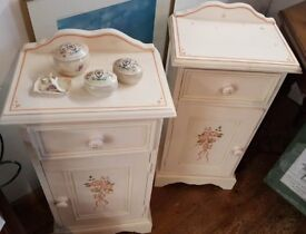 Pair Bedside Tables, Bedside Cabinet, Nightstand, Hand Painted, Painted Furniture, Pine Bedside