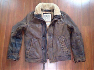 High end Abercrombie & Fitch Ruehl men's Langdon leather jacket