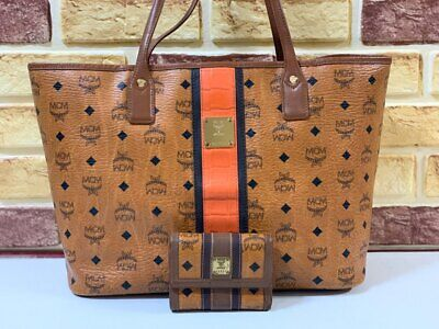 100% Authentic MCM Cognac Visetos Trim Shopper Shoulder Bag With WALLET