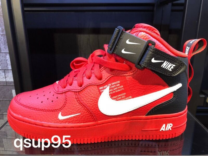 9bdd437949 Nike Air Force 1 Mid Utility LV8 University Red Black AV3803-600 Size 4Y-