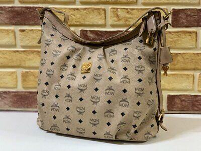 100% Authentic MCM Beige Hobo Visetos Shoulder Bag With KEY AND LOCK