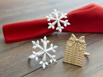 Snowflake Napkin Rings (Harman Silver Metal Snowflake Napkin Rings  ~Set of 4~   ~~FREE SHIPPING~~ )