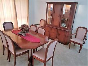 8 seat classic wood Dining Table & Chairs with matching Wall Unit Ningi Caboolture Area Preview