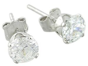 Round-Cubic-Zirconia-CZ-Stud-Earrings-7mm-925-Sterling-Silver-Fashion-SHIP-USA