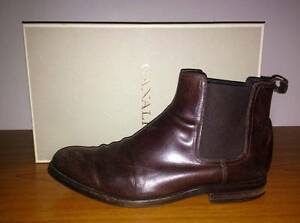 CANALI Italian Brown Leather Ankle Boots Shoes - Size EUR 41.5 US Caulfield North Glen Eira Area Preview