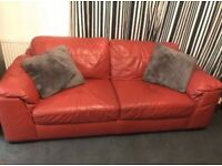 Scs Ex display red leather large 2 seater sofa couch