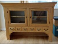 Oak cabinet with cupboards and drawers with key dresser console sideboard book case