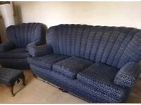 Vintage 3 seater sofa + 2 X single seater chairs. (sofa set)