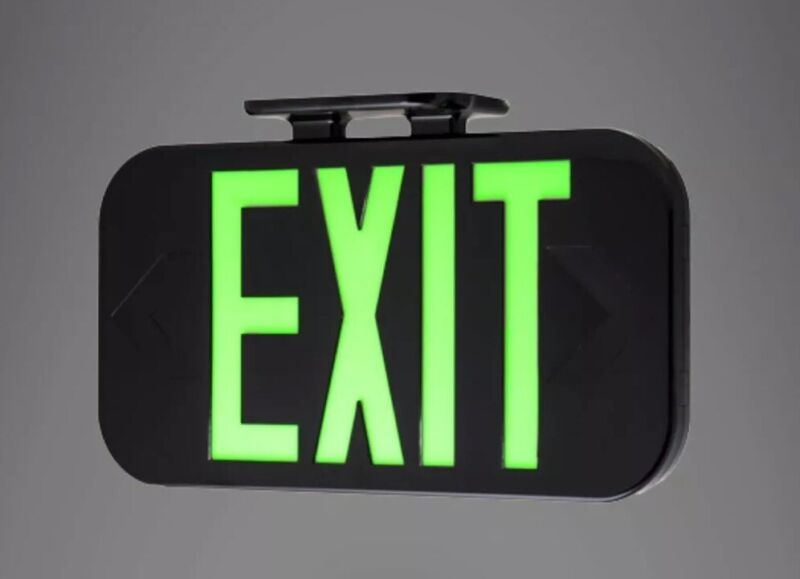 HES120 Double Sided HYBRID Photoluminescent Exit Sign CURRENT DRIVEN 180 Min