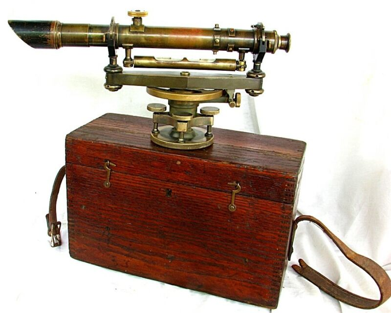 KEUFFEL & ESSER SIGHT LEVEL w BRASS GUSSETED TRIPOD *SURVEYING* DENVER c.1920