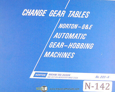 Norton Reference Information Change Gear Tables Hobbing Manual Year 1940