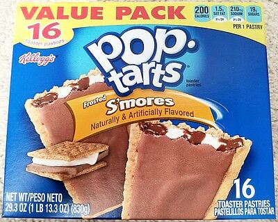 NEW Pop Tarts Toaster Pastries Frosted S'mores 16 Count Free Worldwide Shipping (S Mores Pop Tarts)